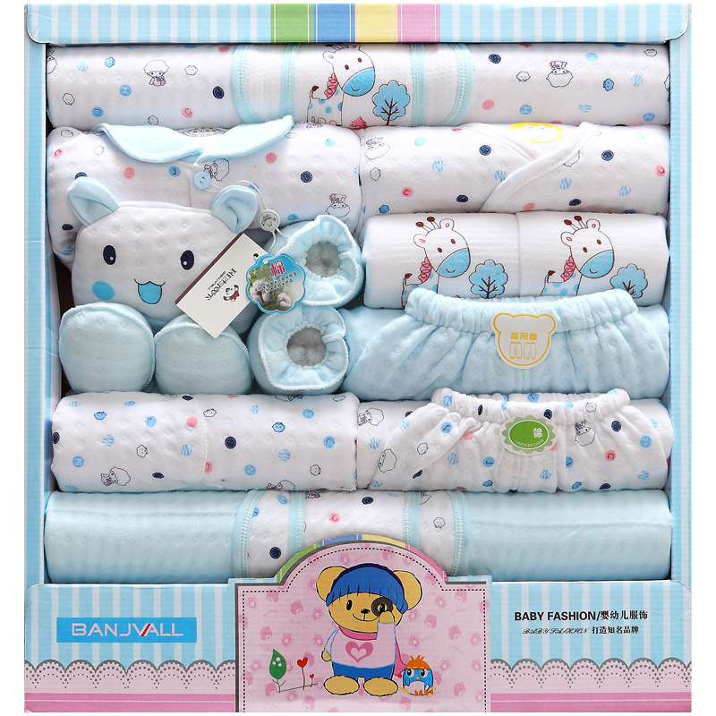 2017 New Arrival 18 Pcs/Set High Quality 100% Cotton Newborn Baby Clothing Gift Sets Lovely Cartoon Printing Baby Clothing Sets 0cm in diameter large space baby hand footed printing mud set newborn baby hand and foot print hundred days old gift souvenir