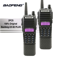 2pcs Baofeng UV 82 Plus Walkie Talkie 3800mAh Battery Long Standby Dual PTT Dual Band Two Way Radio UV82 Walky Talky Transceiver