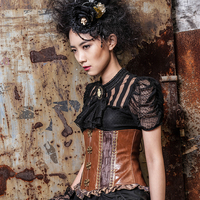 Steelsir Gothic Women Short Sleeve Shirt Rock Punk Sexy Transparent Lace Blouses With Detachable Necktie Classical