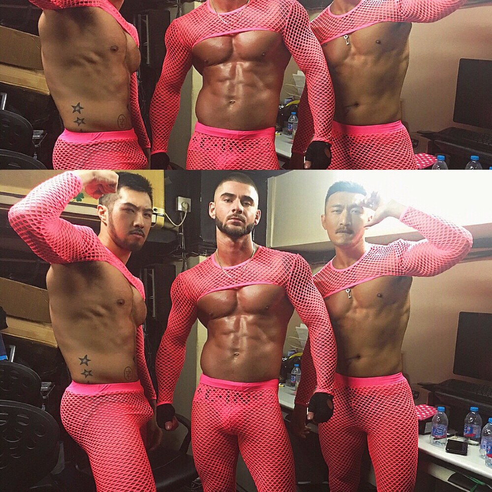Nightclub Bar Male DS Sexy Hollow Perspective Fluorescent Pink Half Mesh Party Costume