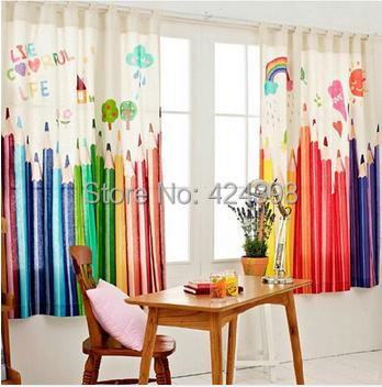 modern rustic window curtains colorful pencil printed Cotton and ...