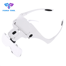 FGHGF Headband Eye Magnifier 5 Lens Adjustable Bracket Microscope Portable Glasses Loupe Magnifying Tool LED Lights