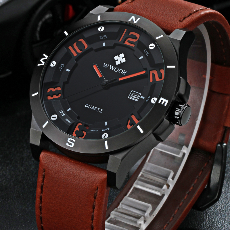 2016 Top Brand Luxury Genuine Leather Waterproof Sport Watches Men Casual Quartz Watch Male Date Clock Army Military Wrist Watch weide new men quartz casual watch army military sports watch waterproof back light men watches alarm clock multiple time zone