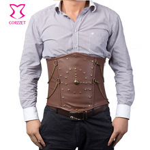 Vintage Rivet Chain Brown Faux Leather Steampunk Corset For Men Body Shaper Tummy Belt Slimming Underwear Mens Gothic Clothing