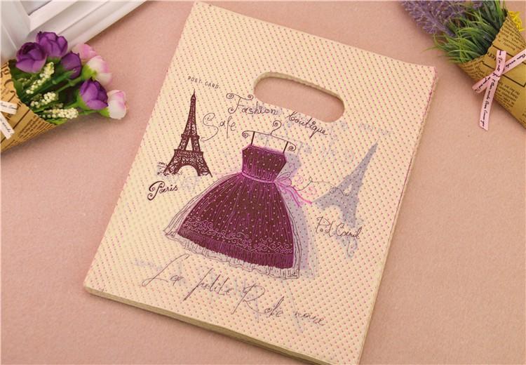New Design Wholesale 50pcslot 35*45cm Luxury European Shopping Plastic Bags With Eiffel Tower Large Fashion Loutique Bags
