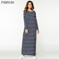 PADEGAO Dark Blue Striped Long Maxi Dress Women Loose Pullover Knitting Casual Islamic Arabic Abaya Turkish