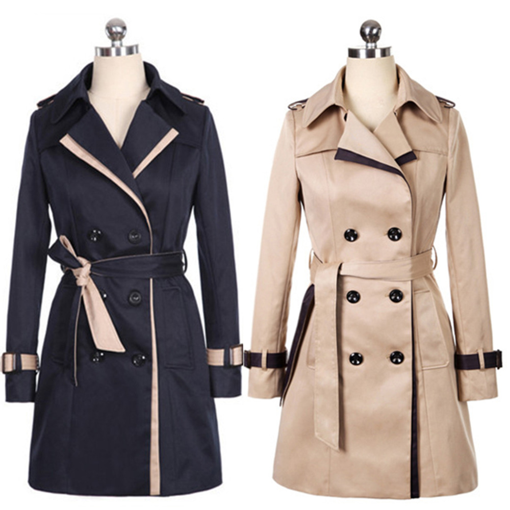 c2262d5d231 Fashion Simple Style OL Classy Women Plus Size Formal Button Down Lapel  Collar Pea Coat Double Breasted Belted Epaulet Trench-in Trench from  Women s ...