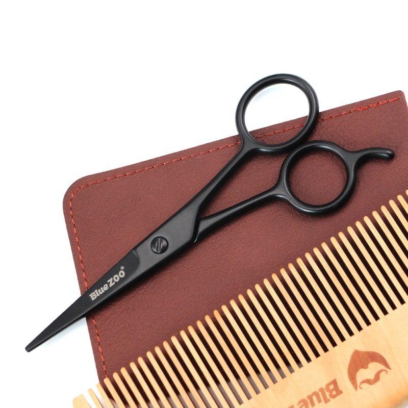 Home Use Hair Scissors Barber Black Mini Size Shaving Shear Beard Trimmer Stainless Steel Beard Scissor Eyebrow Mustache Scissor 2
