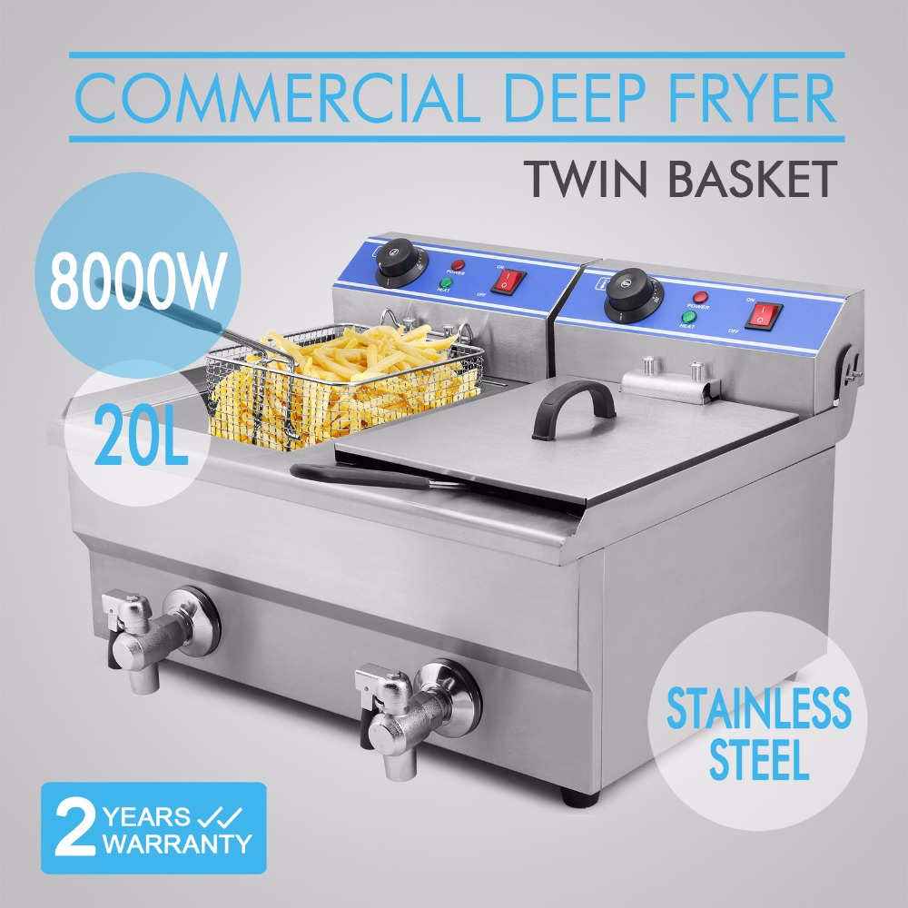 20L 2x4KW Electric Countertop Deep Fryer Commercial Basket French Fry Restaurant Double Tank Commercial Basket Chicken Hot Sales