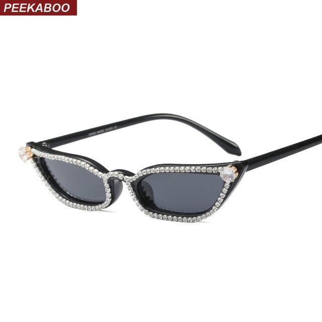 Peekaboo rhinestone cat eye sunglasses women luxury summer 2018 ...