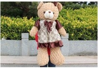 Free shipping 85cm teddy bear plush toy Large brown skirt bears doll
