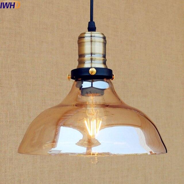 IWHD Glas Stil Loft Industrielle Anhänger Leuchten Esszimmer Amerikanischen  Bombilla Edison LED Jahrgang Lampe Licht Lampara