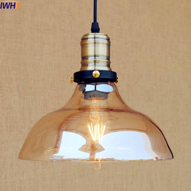 IWHD Glass Style Loft Industrial Pendant Lighting Fixtures Dinning Room American Bombilla Edison LED Vintage Lamp Light Lampara iwhd american edison loft style antique pendant lamp industrial creative lid iron vintage hanging light fixtures home lighting