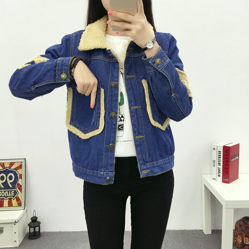 купить 2017 new Denim outerwear female autumn and winter young girl loose bf  short design berber fleece denim wadded jacket дешево