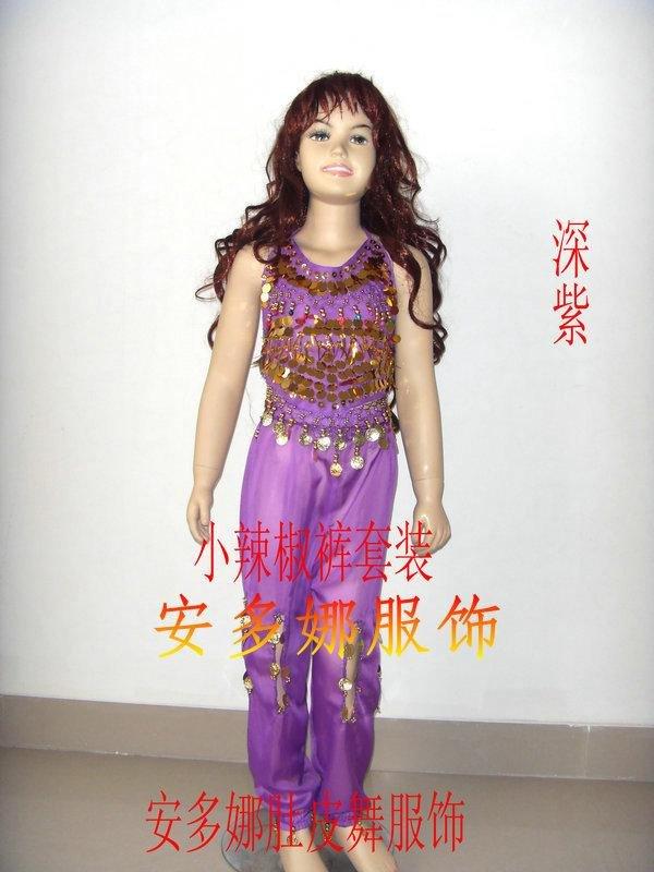 Танец живота костюм комплект Топ и Штаны Fit Детская высота 90-130 см, дети От 6 до 13 лет 6 видов цветов Выберите - Цвет: Purple