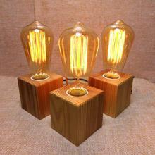 Wooden Table Lamp Vintage Desk Lamp  40W Edison Bulb 110v-220V Bedroom Night Light Table Light Desk Light Coffee Bar