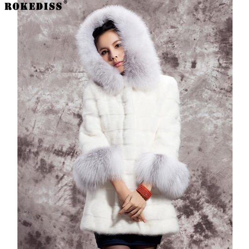 ROKEDISS 2017 fashion Female fake fox fur coat white and long sections stitching Slim Women's fake fur Hooded coat X338