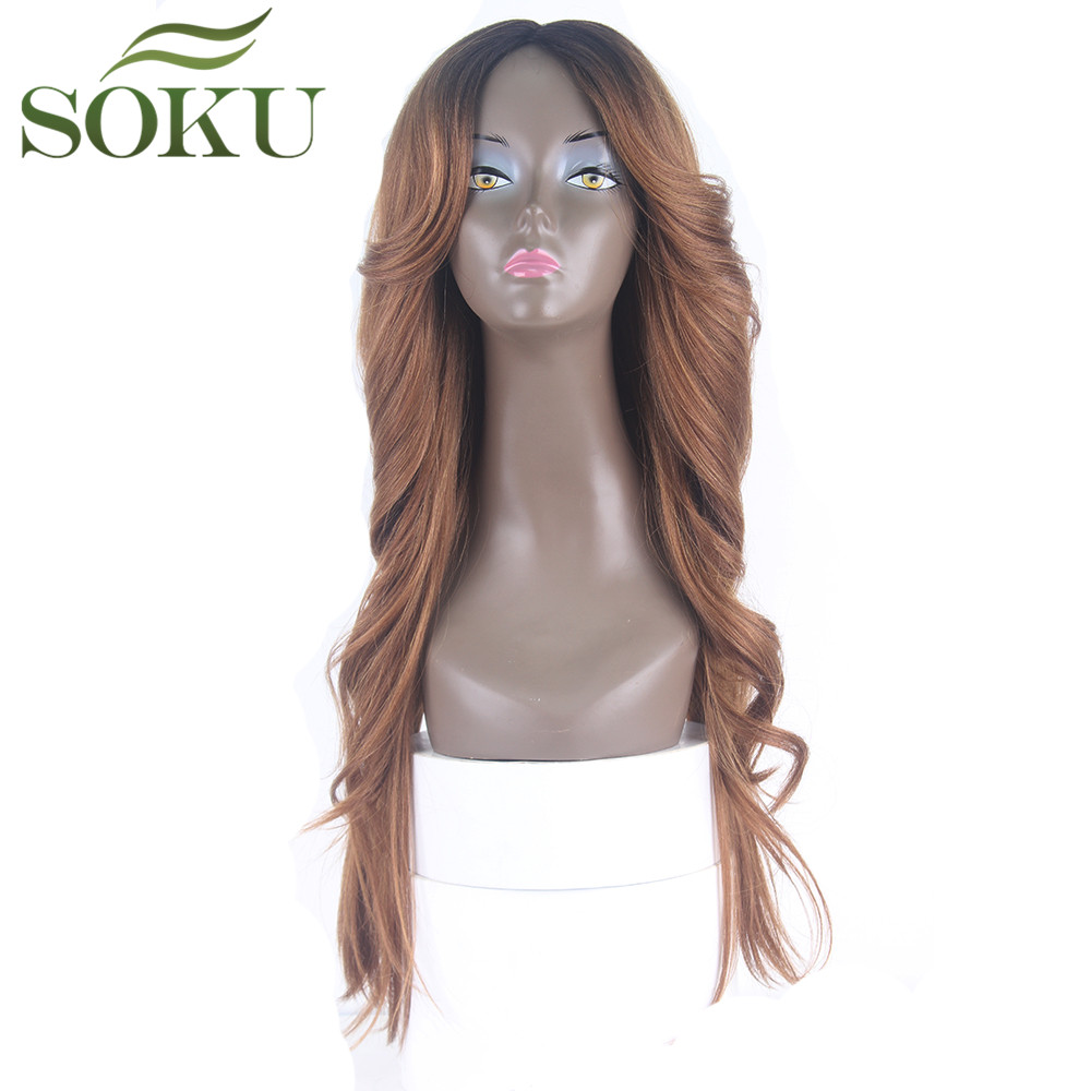 Ombre Brown Synthetic Lace Wigs With Wavy Bang Long Straight Side Part Deep Invisible Heat Resistant Women Full Wigs SOKU 26