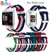 Nylon watchband Adjustable strap For Fitbit Ionic Replacement smart Sport Strap wristband watch band