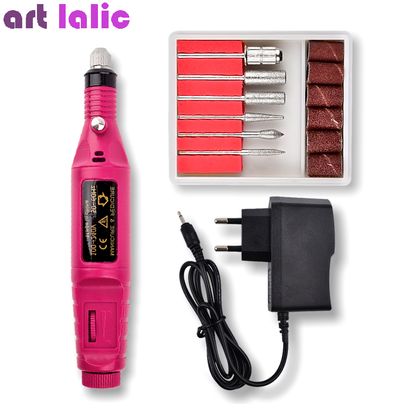 1Set Professional Electric Nail Kit Nail Tips Drill  File Manicure Machine Electric Nail Art Pen Pedicure 6 Bits Nail Art Tools