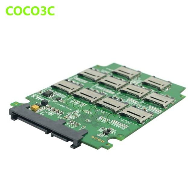 "10 TF Card slots To 2.5"" SATA 3.0 SSD RAID0 Card multiplier TF cards to SATA 6Gb/s Hard Drive adapter"