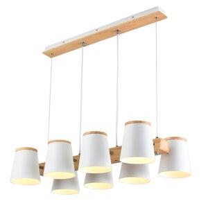 Image 5 - Регулируемые подвесные светильники BOTIMI E27, Деревянный светильник для столовой, современный белый шнур, подвесной светильник с металлическими лампами