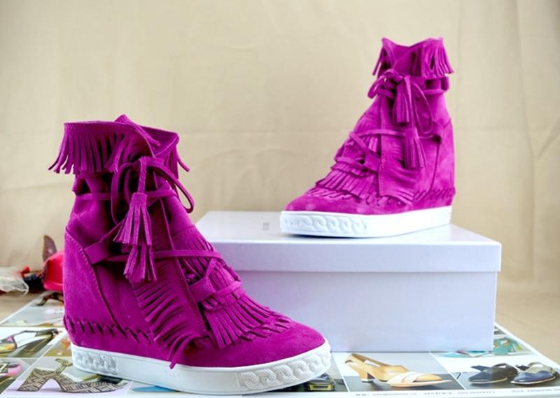 Picture Suédé Gland Automne Lacent Rond Bordées Hauteur Bout En As Picture Pour as 2018 Cuir Femmes Coins Croissante Bottines Chaussures HRwz8xH