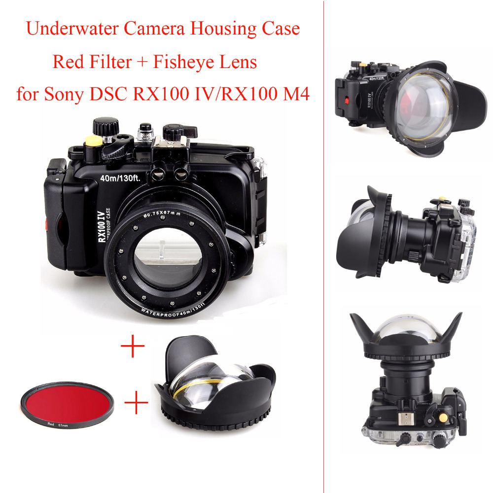 40M/130ft Underwater Camera Housing Case for Sony DSC RX100 IV/RX100 M4,Waterproof Camera Bags Case + Red Filter + Fisheye Lens