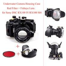 40 м/130ft подводный Камера Корпус чехол для Sony DSC RX100 IV/RX100 M4, водонепроницаемый Камера Сумки чехол + красный фильтр + рыбий глаз