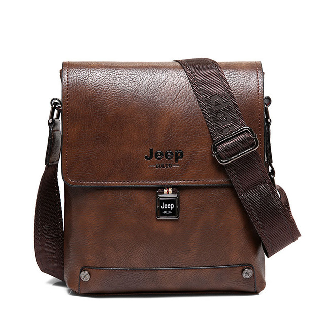 f42639c123 New JEEP Men Leather Crossbody Bag Casual Business Vintage Men's Bag Famous  Brand Shoulder Bag Designer