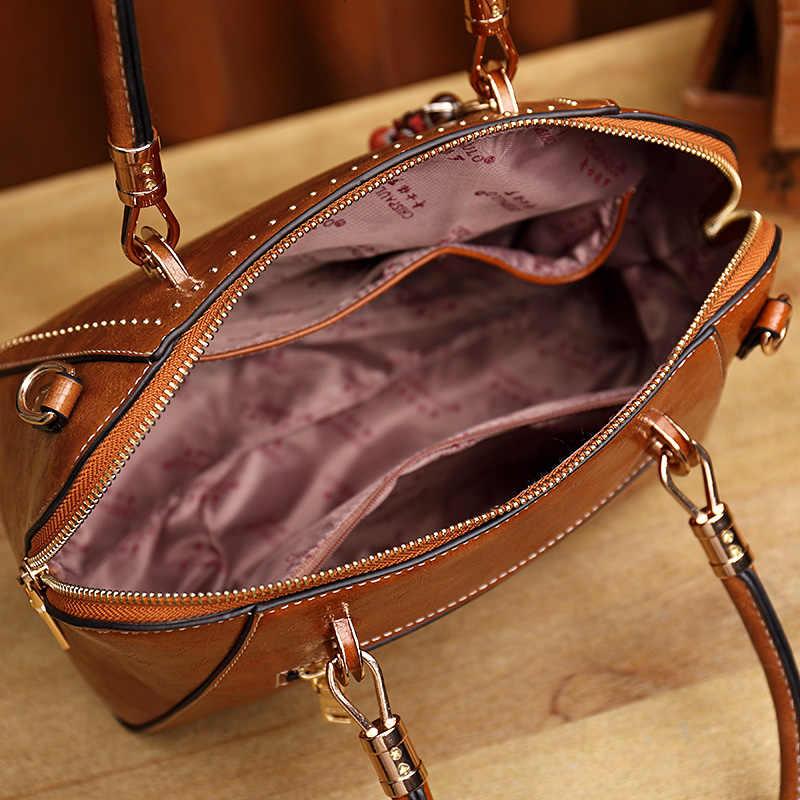 Brown patent  Casual tote bag ladies Women's handbag genuine leather messenger shoulder bag female top handle hand bags lady T55