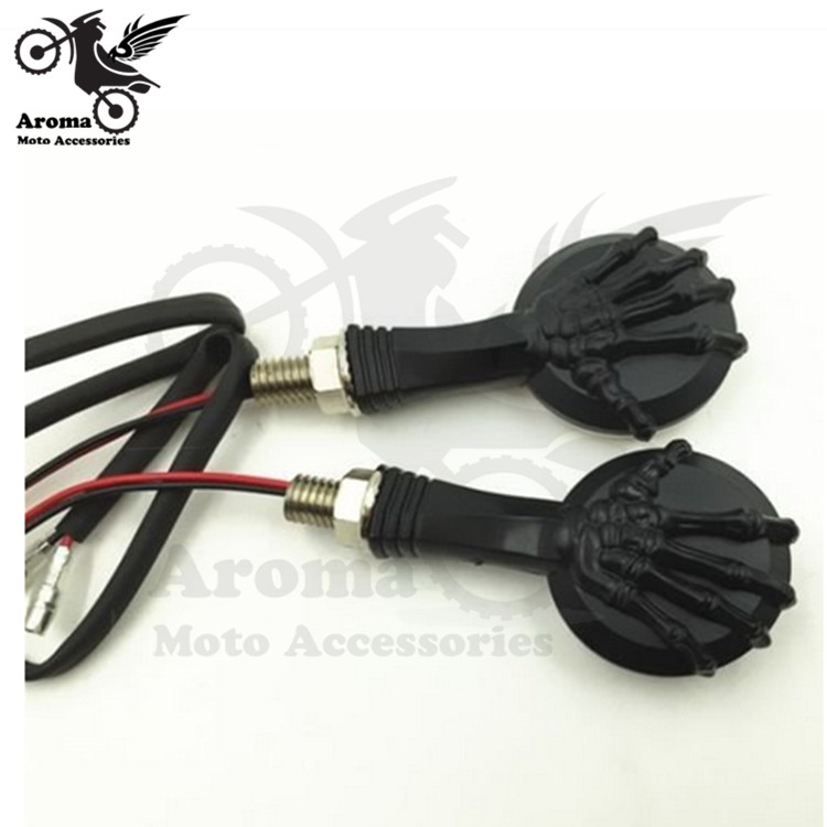 human skeleton hand decal black moto indicator light for yamaha honda suzuki kawasaki Harley Davidson motorcycle turn signal