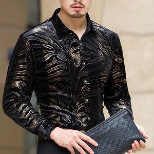 Image 3 - مو يوان يانغ جديد الرجال قمصان بأكمام طويلة مع عالية الجودة الفانيلا قميص أسود يتأهل ملابس رجالي 50% قبالة كبير حجم 3XL