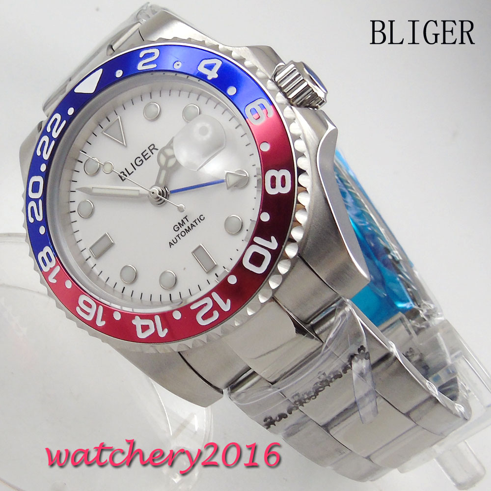 40mm BLIGER White Dial Luminous Rotating Bezel Deployment Sapphire Steel GMT Automatic Movement mens Mechanical Wristwatches40mm BLIGER White Dial Luminous Rotating Bezel Deployment Sapphire Steel GMT Automatic Movement mens Mechanical Wristwatches