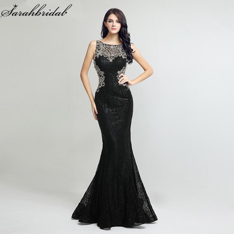 Sexy Sequin Mermaid Long Formal Evening Dresses robe de soiree Sheath Bodice Illusion Lace Crystal Beading