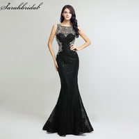 Sexy Sequin Mermaid Long Formal Evening Dresses robe de soiree Sheath Bodice Illusion Lace Crystal Beading Evening Gowns LSX171