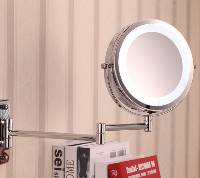 Creative Wall Hanging LED Mirror Simple Bathroom Telescopic Folding Double-sided Vanity Mirror Personality Makeup Mirror Q422 nyx professional makeup двустороннее зеркало dual sided compact mirror 03