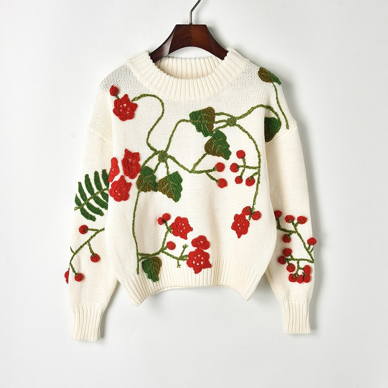 2019 Autumn Winter Gloria&Grace White/Black Cherry Embroidery Patter Print Knitting Warm Cotton Sweater Pullovers Haute Couture