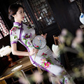 New Arrival Female Elegant Vintage Dress Chinese Women Summer Sexy Cheongsam Long Slim Qipao Flower Size S M L XL XXL 103138