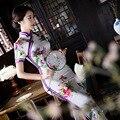 Nova fêmea chegada elegante dress mulheres verão sexy cheongsam chinês do vintage longo Fino Qipao Flor Tamanho S M L XL XXL 103138