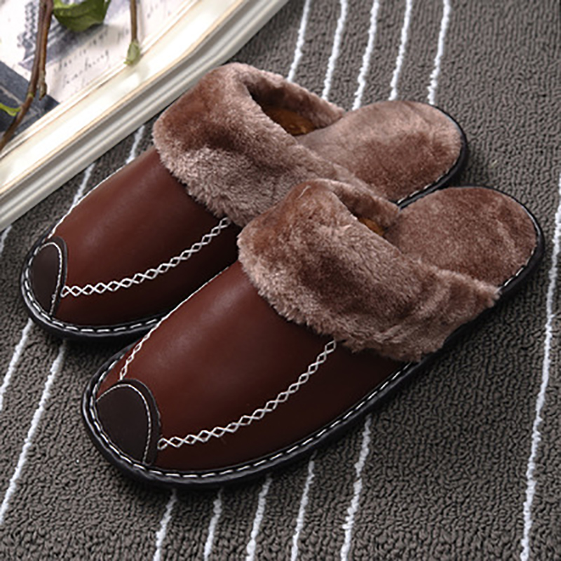 Winter Women Genuine Leather Slippers