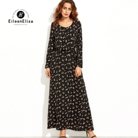 Runway Maxi Dress 2017 Vintage Flower Print Long Dress Women Autumn Long Sleeve Boho Dresses