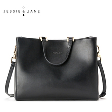 JESSIE&JANE New Arrival Designer Brand Simple Women Leather Handbags Shoulder Bag Totes Top-Handle Bags 1123