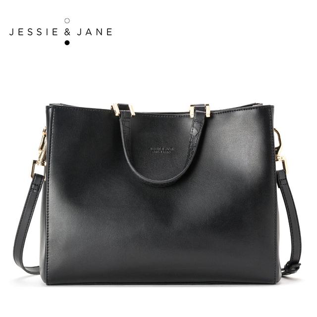 JESSIE y JANE Nueva Llegada Diseñador de la Marca Simple Cuero Partido de Las Mujeres Bolsos de Hombro Del Bolso de Totalizadores Bolsas de Asa Superior 1123