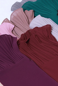Image 2 - New long scarf Patchwork Popular bubble chiffon Scarf Wrinkle hijab pearl Pleat Scarf stitching Muffler muslim scarves
