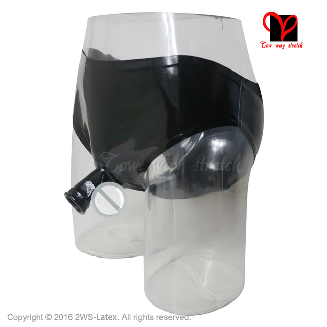 Black Open Penis Sheath Shaft Ring Sexy Latex Pants Bottoms Rubber Underpants Panty Underwear Cock Ball Condom