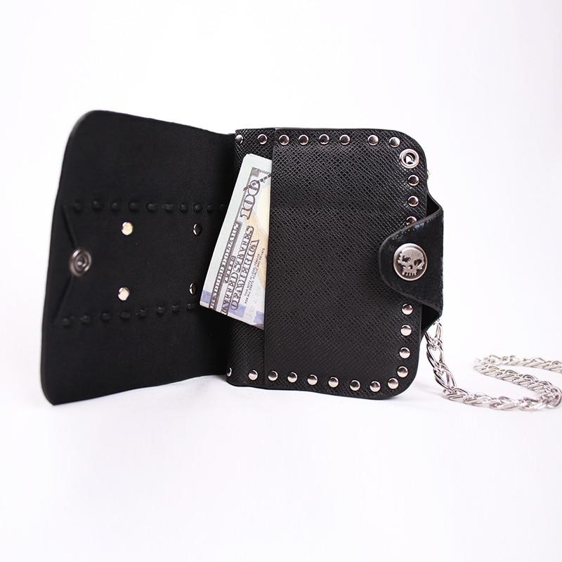Biker wallet//Skull wallet//Gothic leather wallet Cross BLACK NWT