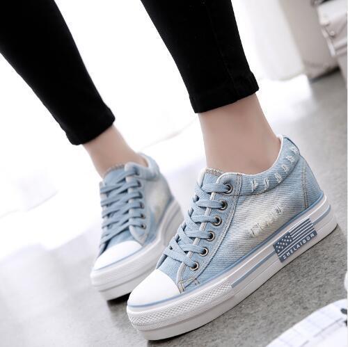 Blue Casual Shoes Vintage Water Wash Denim Shoes Breathable Platform Shoes Women Casual Canvas Shoes Woman Trainers Zapatillas