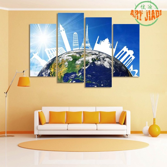4 Pieces/sets Canvas Art 4 panels The Buildings on the Earth Canvas ...