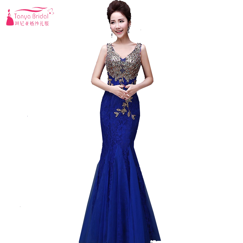 Royal Blue Mermaid Bridesmaid Dresses V-Neck Sexy Elegant Lace Tulle Maid Of Honor Wedding Guest Dress Formal Wear Cheap ZB023